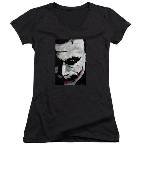 Ledger's Joker Women's V-Neck T-Shirt (Junior Cut) by Dale Loos Jr
