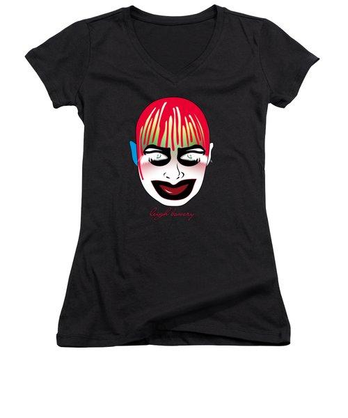 Leigh Bowery Women's V-Neck T-Shirt (Junior Cut) by Mark Ashkenazi