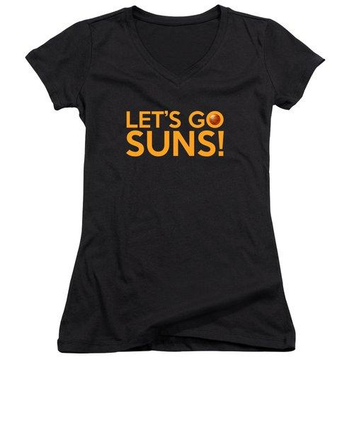 Let's Go Suns Women's V-Neck T-Shirt (Junior Cut) by Florian Rodarte