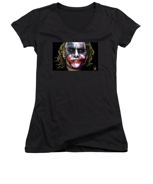 Let's Put A Smile On That Face Women's V-Neck T-Shirt (Junior Cut) by Vinny John Usuriello