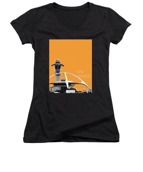 Los Angeles Skyline Lax Spider - Orange Women's V-Neck T-Shirt (Junior Cut) by DB Artist