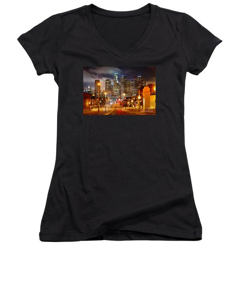 Los Angeles Skyline Night From The East Women's V-Neck T-Shirt (Junior Cut) by Jon Holiday
