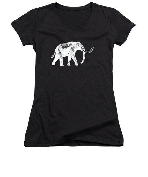 Mammoth White Ink Tee Women's V-Neck T-Shirt (Junior Cut) by Edward Fielding