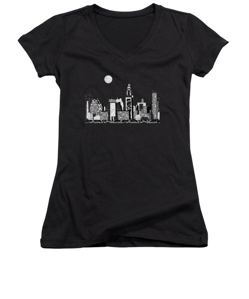 Manhattan At Night New York Swings Women's V-Neck T-Shirt (Junior Cut) by Cecely Bloom