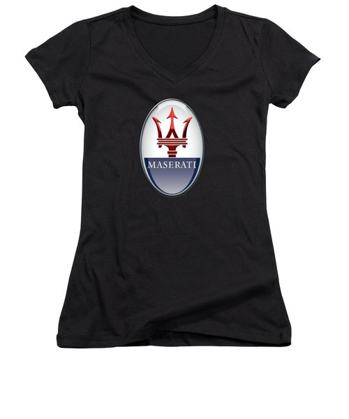 Maserati - 3d Badge On Black Women's V-Neck T-Shirt (Junior Cut) by Serge Averbukh