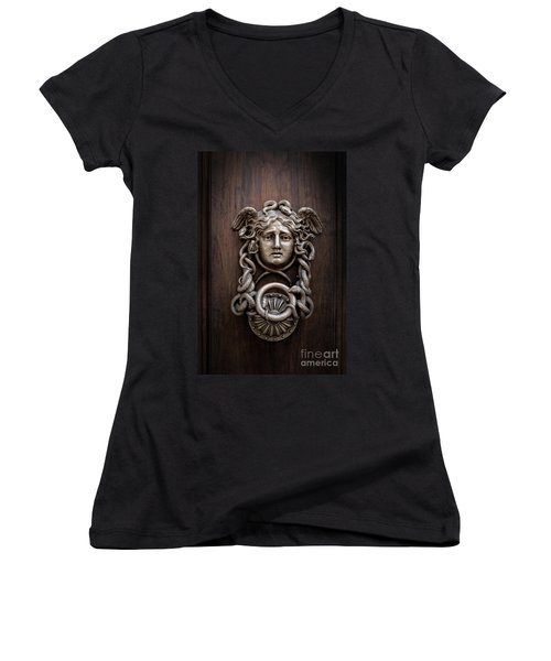 Medusa Head Door Knocker Women's V-Neck T-Shirt (Junior Cut) by Edward Fielding