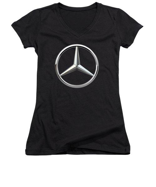 Mercedes-benz - 3d Badge On Black Women's V-Neck T-Shirt (Junior Cut) by Serge Averbukh