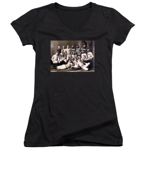 Michigan Wolverines Football Heritage 1888 Women's V-Neck T-Shirt (Junior Cut) by Daniel Hagerman