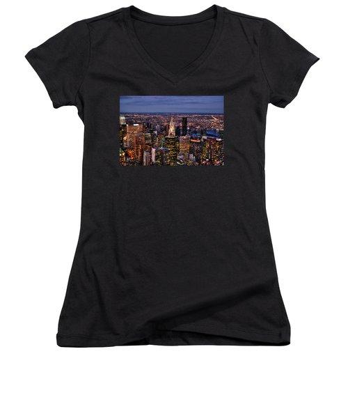 Midtown Skyline At Dusk Women's V-Neck T-Shirt (Junior Cut) by Randy Aveille