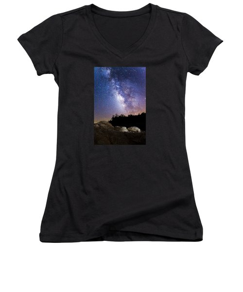 Milky Way Over A Western Diamondback Rattlesnake Women's V-Neck T-Shirt (Junior Cut) by Chuck Brown