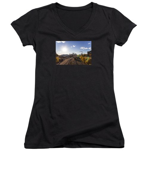 Minneapolis In The Fall Women's V-Neck T-Shirt (Junior Cut) by Zach Sumners