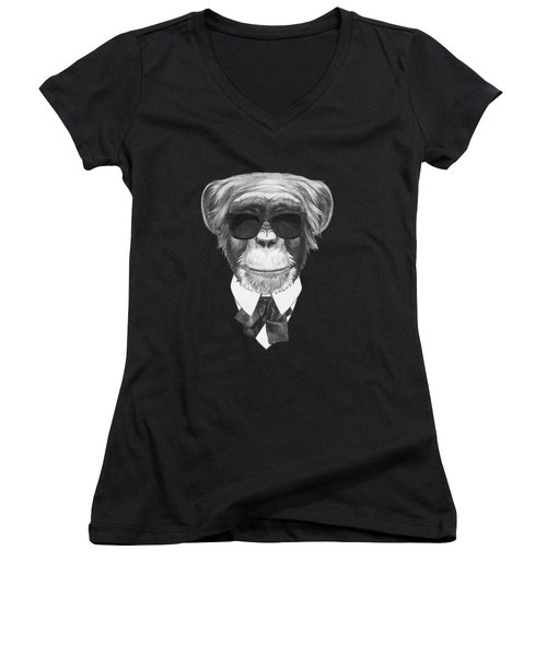 Monkey In Black Women's V-Neck T-Shirt (Junior Cut) by Marco Sousa