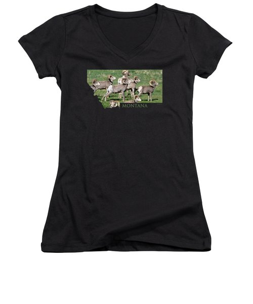 Montana -bighorn Rams Women's V-Neck T-Shirt (Junior Cut) by Whispering Peaks Photography