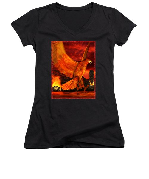 Myth Series 3 Phoenix Fire Women's V-Neck T-Shirt (Junior Cut) by Sharon and Renee Lozen