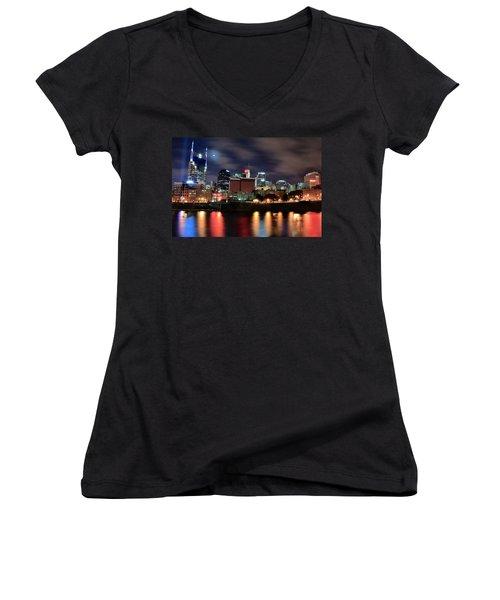 Nashville Skyline Women's V-Neck T-Shirt (Junior Cut) by Frozen in Time Fine Art Photography