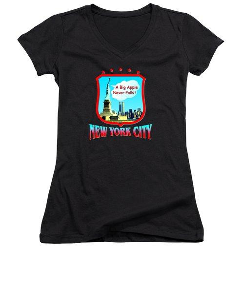 New York City Big Apple - Tshirt Design Women's V-Neck T-Shirt (Junior Cut) by Art America Online Gallery