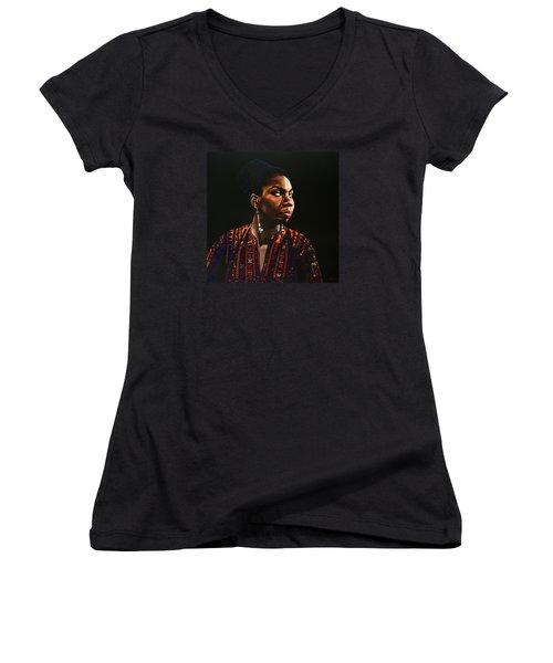 Nina Simone Painting Women's V-Neck T-Shirt (Junior Cut) by Paul Meijering