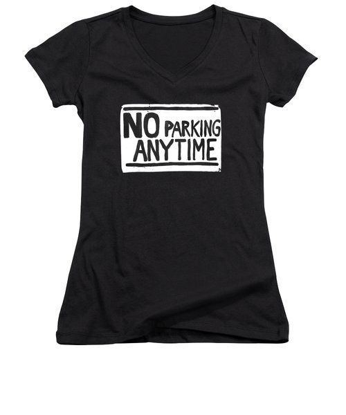No Parking Women's V-Neck T-Shirt (Junior Cut) by H James Hoff