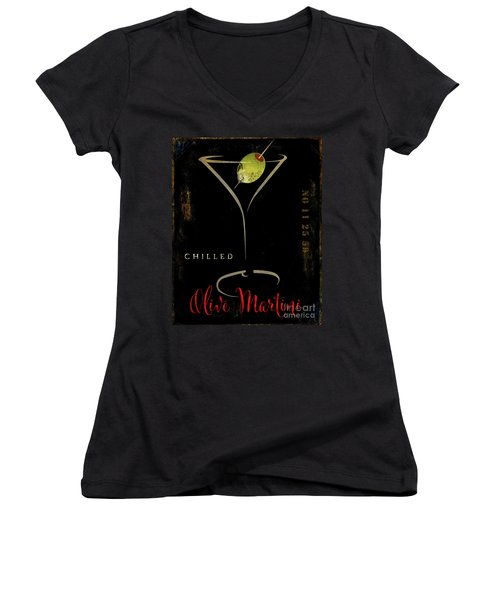 Olive Martini Women's V-Neck T-Shirt (Junior Cut) by Mindy Sommers