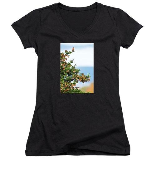 Out On A Limb # 2 Women's V-Neck T-Shirt (Junior Cut) by Matt Plyler
