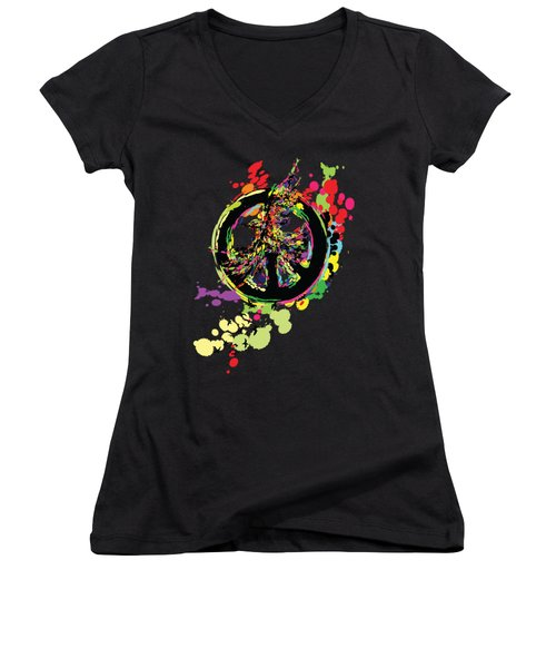 Peace And Peace Women's V-Neck T-Shirt (Junior Cut) by Cindy Shim