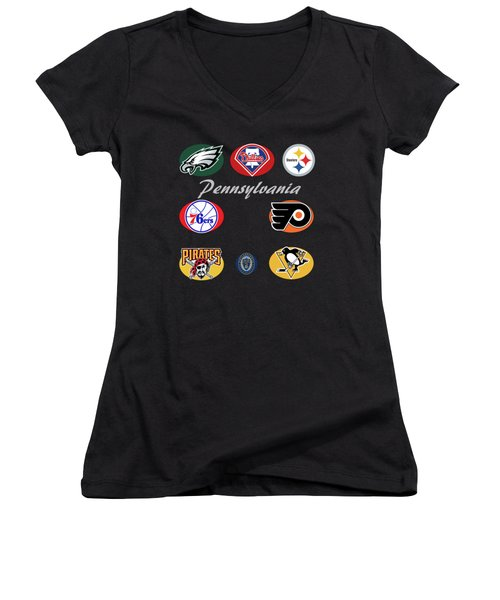 Pennsylvania Professional Sport Teams Collage  Women's V-Neck T-Shirt (Junior Cut) by Movie Poster Prints
