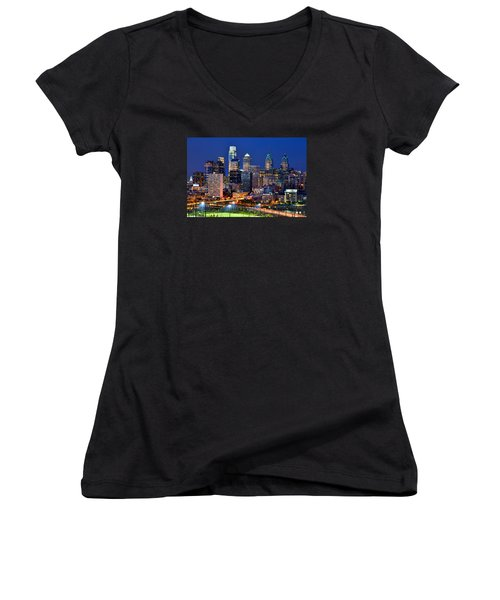 Philadelphia Skyline At Night Women's V-Neck T-Shirt (Junior Cut) by Jon Holiday