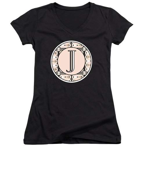 Pink Champagne Deco Monogram  J Women's V-Neck T-Shirt (Junior Cut) by Cecely Bloom