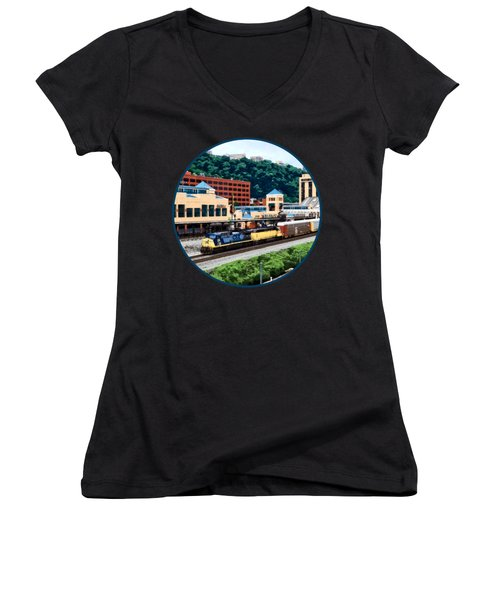 Pittsburgh Pa - Freight Train Going By Station Square Women's V-Neck T-Shirt (Junior Cut) by Susan Savad