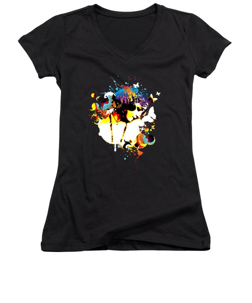 Poetic Peacock - Bespattered Women's V-Neck T-Shirt (Junior Cut) by Chris Andruskiewicz