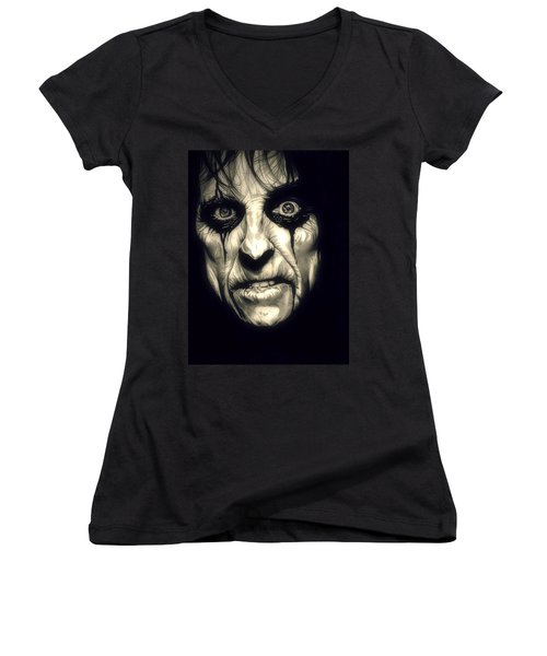 Poison Alice Cooper Women's V-Neck T-Shirt (Junior Cut) by Fred Larucci