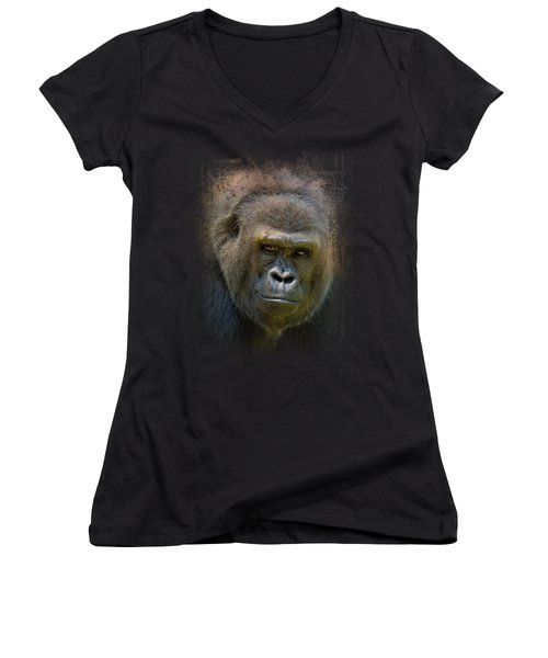 Portrait Of A Gorilla Women's V-Neck T-Shirt (Junior Cut) by Jai Johnson