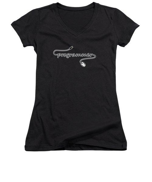 Programmer Women's V-Neck T-Shirt (Junior Cut) by Anastasiya Malakhova