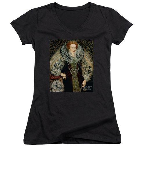 Queen Elizabeth I Women's V-Neck T-Shirt (Junior Cut) by John the Younger Bettes