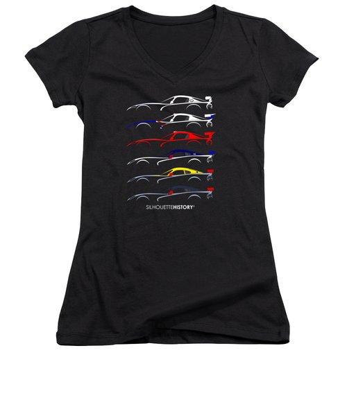 Racing Snake Silhouettehistory Women's V-Neck T-Shirt (Junior Cut) by Gabor Vida