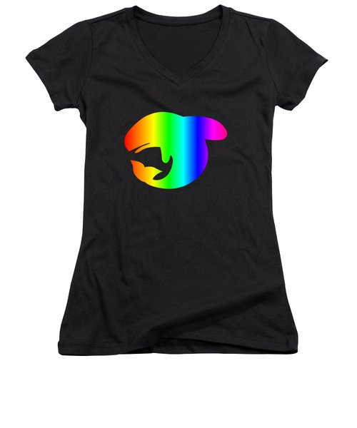 Rainbow Whale Women's V-Neck T-Shirt (Junior Cut) by Frederick Holiday