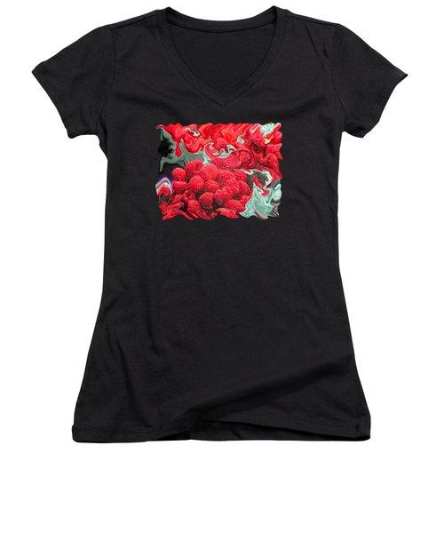 Raspberries Women's V-Neck T-Shirt (Junior Cut) by Kathy Moll