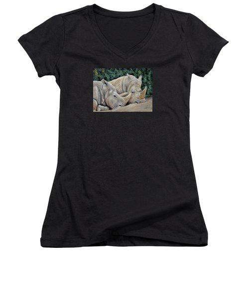 Rhinos Women's V-Neck T-Shirt (Junior Cut) by Sam Davis Johnson