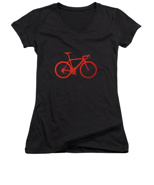 Road Bike Silhouette - Red On Black Canvas Women's V-Neck T-Shirt (Junior Cut) by Serge Averbukh