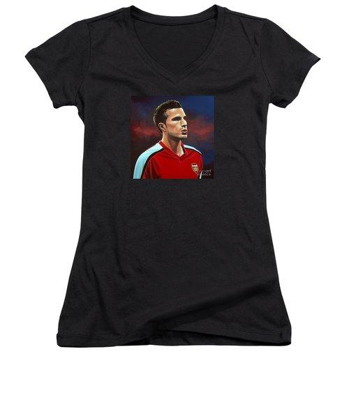 Robin Van Persie Women's V-Neck T-Shirt (Junior Cut) by Paul Meijering