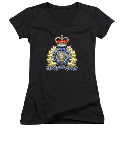 Royal Canadian Mounted Police - Rcmp Badge On Black Leather Women's V-Neck T-Shirt (Junior Cut) by Serge Averbukh