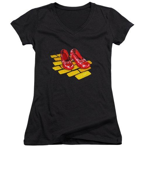 Ruby Slippers From Wizard Of Oz Women's V-Neck T-Shirt (Junior Cut) by Irina Sztukowski