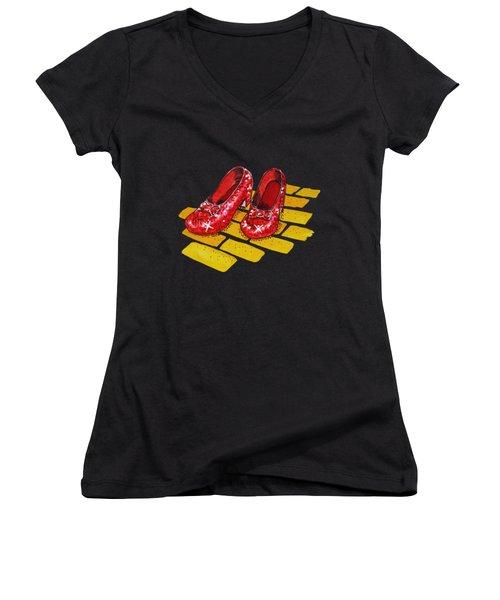 Ruby Slippers The Wonderful Wizard Of Oz Women's V-Neck T-Shirt (Junior Cut) by Irina Sztukowski