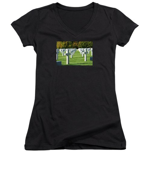 Women's V-Neck T-Shirt (Junior Cut) featuring the photograph Saint Mihiel American Cemetery by Travel Pics