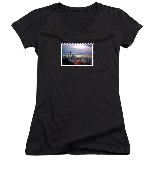 Seattle At Sunset Women's V-Neck T-Shirt (Junior Cut) by Elaine Plesser