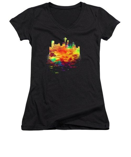 Seattle Skyline, Orange Tones On Black Women's V-Neck T-Shirt (Junior Cut) by Pamela Saville