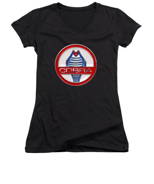 Shelby Ac Cobra - Original 3d Badge On Black Women's V-Neck T-Shirt (Junior Cut) by Serge Averbukh