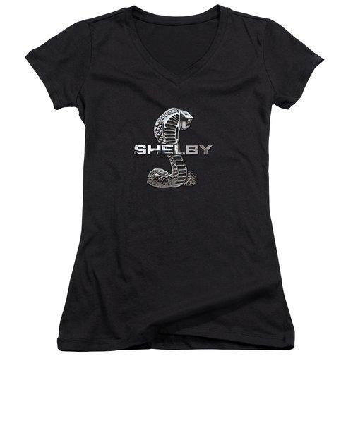 Shelby Cobra - 3d Badge On Black Women's V-Neck T-Shirt (Junior Cut) by Serge Averbukh