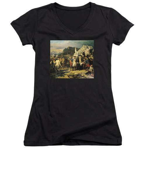 Siege Of Yorktown Women's V-Neck T-Shirt (Junior Cut) by Louis Charles Auguste  Couder