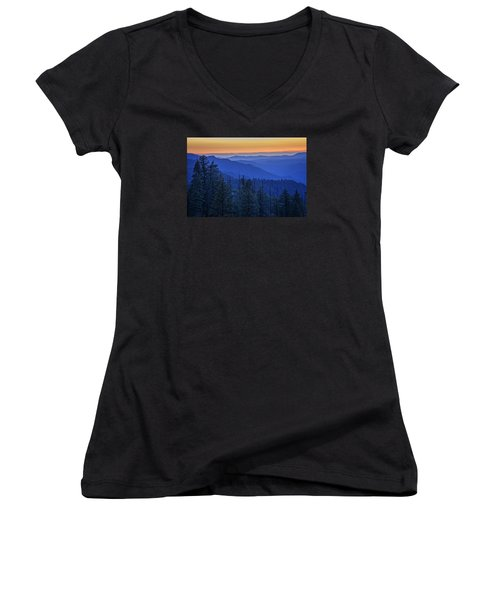 Sierra Fire Women's V-Neck T-Shirt (Junior Cut) by Rick Berk